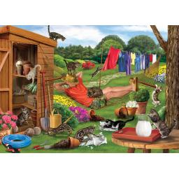 Rectangular Jigsaw - Garden Cats