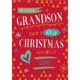 Christmas Card (Single) - Grandson - Jolly Christmas