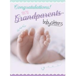 New Baby Card - Baby Feet (Grandparents)