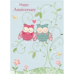Anniversary Card - Illustrative Owls (Your)
