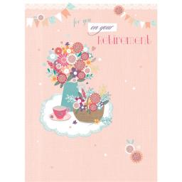 Retirement Card - Flowers Trug & Teacup