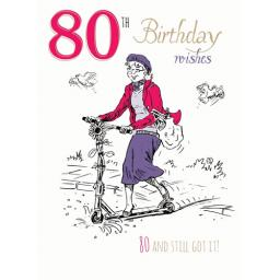 Young At Heart Card - 80 Female - Scooter Fun