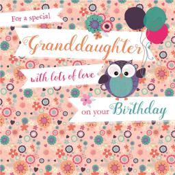 Family Circle Card - All Over Floral & Owl (Granddaughter)