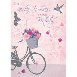Family Circle Card - Bicycle Of Roses (Sister In Law)