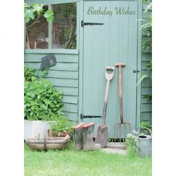 First Class Male Card - Garden Shed & Boots
