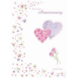 Anniversary Card - Hearts & Flowers (Your)