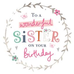 Family Circle Card - Colourful Text (Sister)