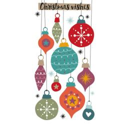 Christmas Card (Single) - Money Wallet - Baubles