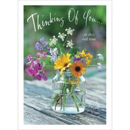 Thinking Of You Card - Jar Of Wild Flowers