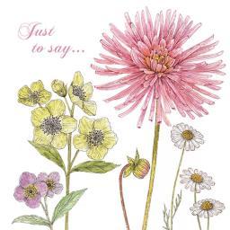 Vintage Garden Card - Dahlia & Daisy