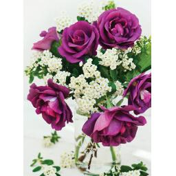 Beautiful Blanks Card - Purple Roses In Vase