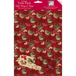 Christmas Wrap & Tags Bumper (Twin) Pack - Vintage Birds