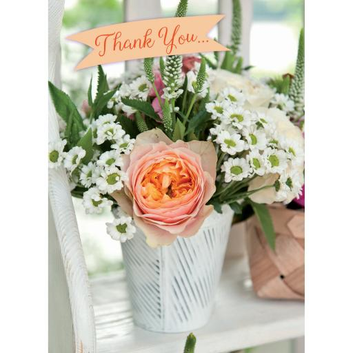 Thank You Card - White & Orange Flowers