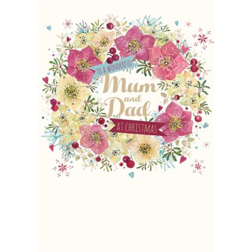 Christmas Card (Single) - Mum & Dad 'Floral Wreath'