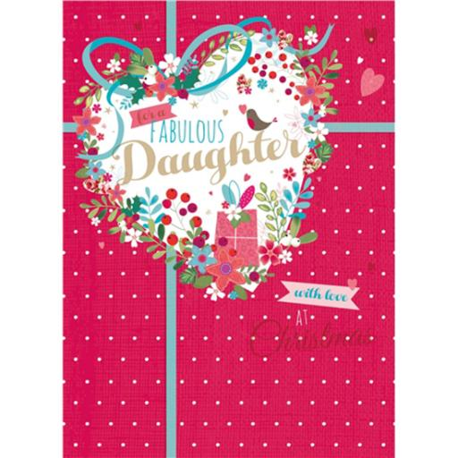 Christmas Card (Single) - Daughter 'Heart Shaped Floral'
