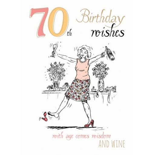 Young At Heart Card - 70 Female - Wisdom & Wine