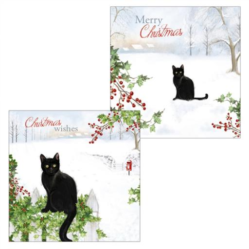 Luxury Christmas Card Pack - Black Cats Winter Watch