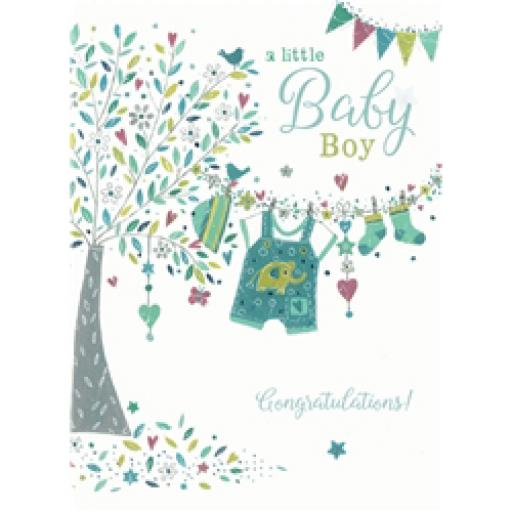 New Baby Card - Tree & Washing line (Baby Boy)