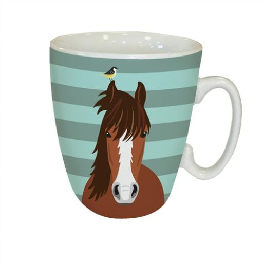 Curved Mug - Waggy Tails - Horse