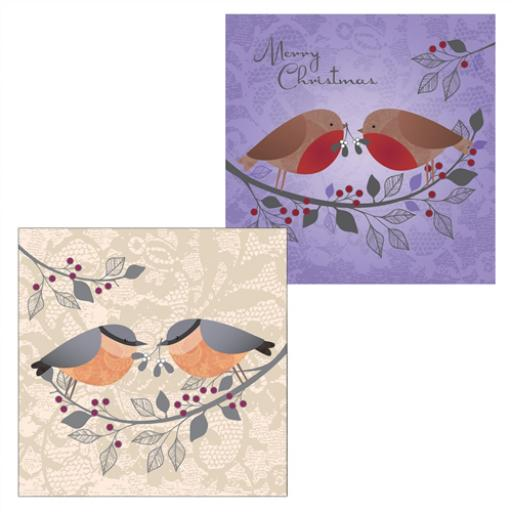 RSPB Luxury Christmas Card Pack - Robin & Bullfinch Lace Birds