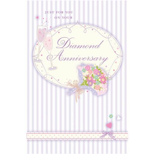 Anniversary Card - Champagne & Flowers (Your Diamond Anniversary)