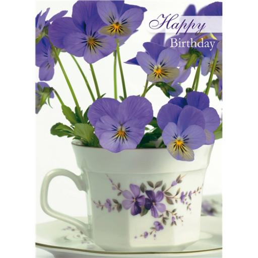 Floral Birthday Card - Purple Pansies