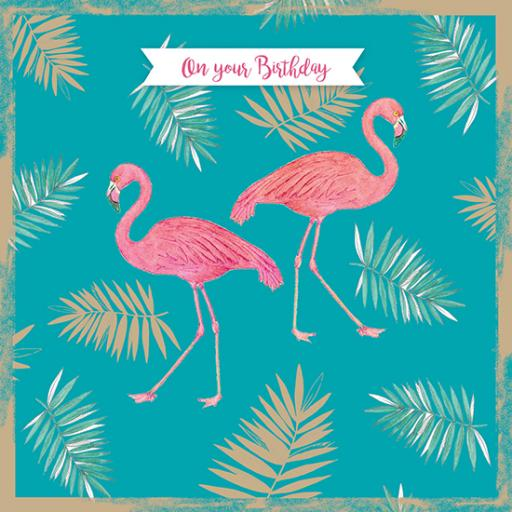 Summer Tropics Card - Flamingo Party