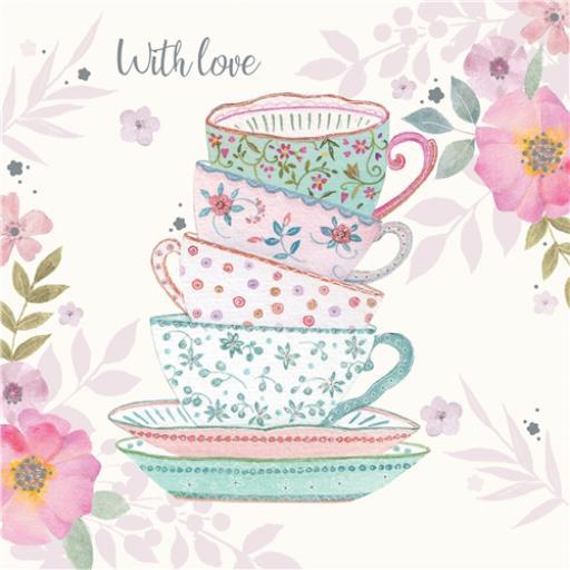 Vintage Garden Card - Teacups