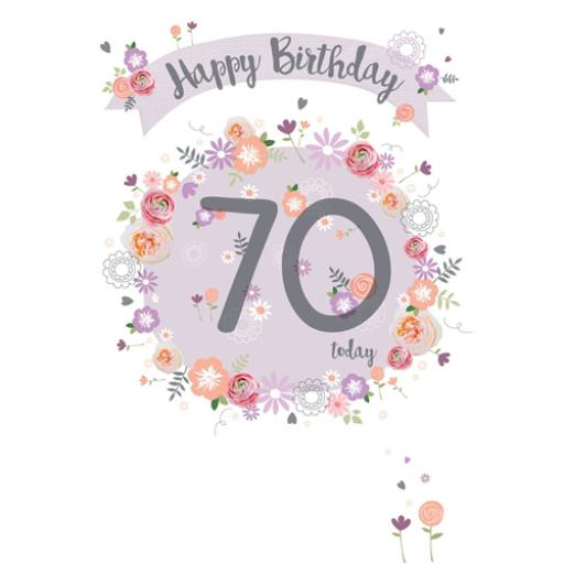 Age To Celebrate Card - 70 Floral Banner