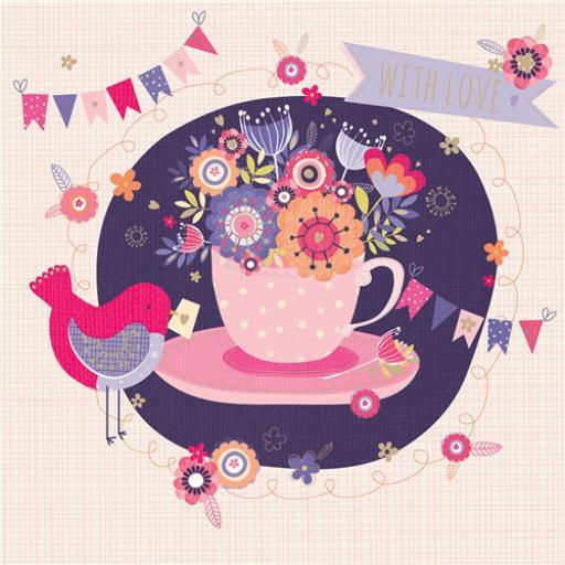 Poppy Davis Card - Floral Teacup