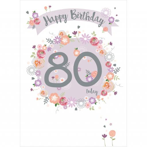 Age To Celebrate Card - 80 Floral & Banner