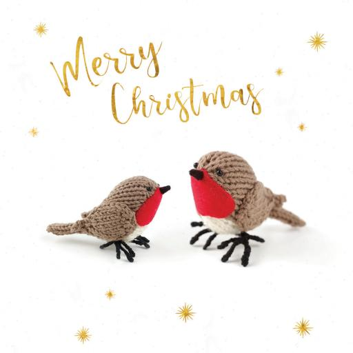 RSPB Small Square Christmas Card Pack - Knitted Birds
