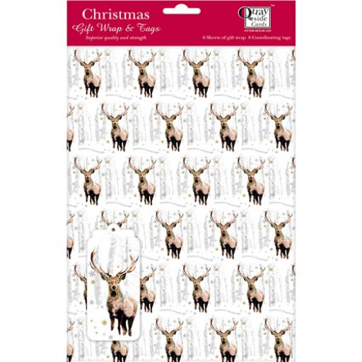 Christmas Wrap & Tags - Snowflake Stag