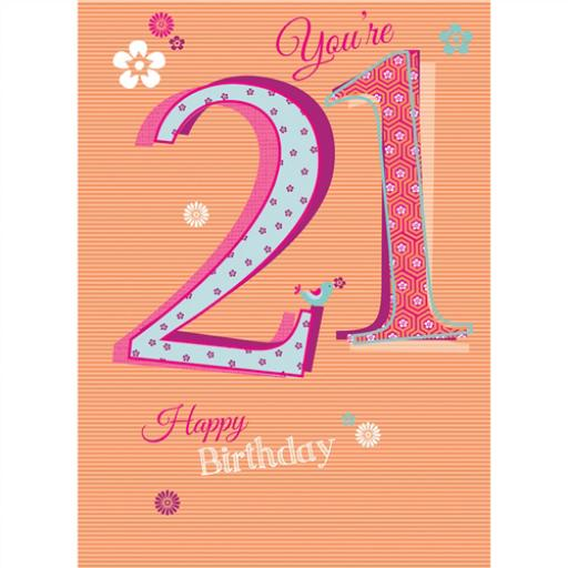 Special Birthdays Card - 21 Female