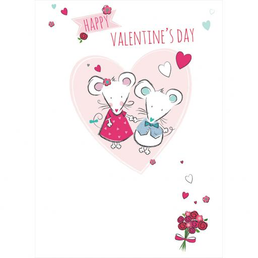 Valentines Day Card - Valentine Mice (Open)