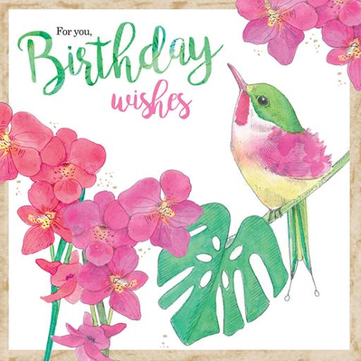 Summer Tropics Card - Tropical Pinks & Bird