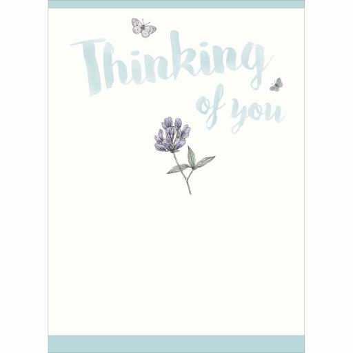 Thinking Of You Card - Flower and Butterflies