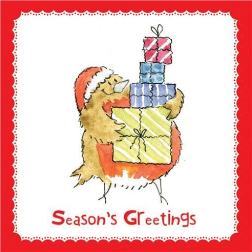 RSPB Small Square Christmas Card Pack - Santa's Little Helper
