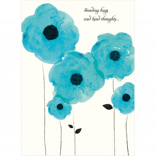 Sympathy Card - Blue Poppies
