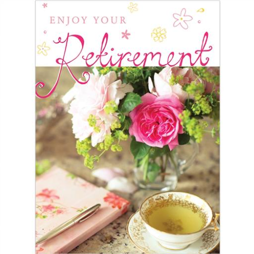 Retirement Card - Tea & Flowers