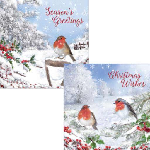 Luxury Christmas Card Pack - Christmas Robins