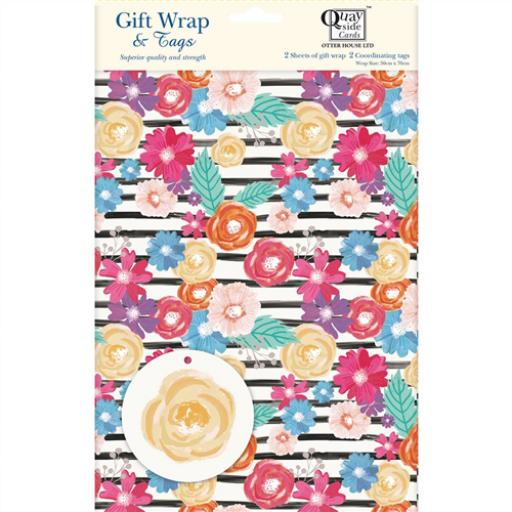 Gift Wrap & Tags - Black & White Floral