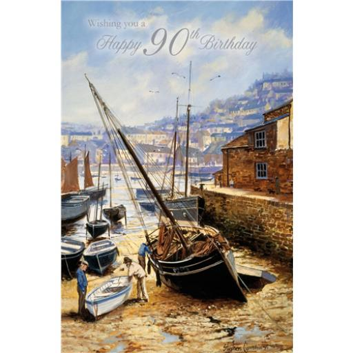 Age To Celebrate Card - 90 Boat In Harbour