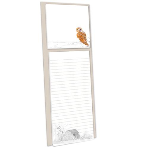 Pollyanna Pickering Stationery - Magnetic Memo Pad With Sticky Notes (Barn Owl)
