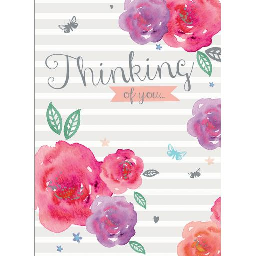 Thinking Of You Card - Floral Stripe