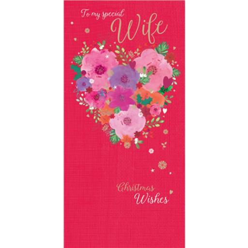 Christmas Card (Single) - Wife 'Floral Heart'