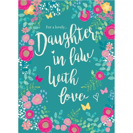 Family Circle Card - Rose Floral Text (Daughter-In-Law)