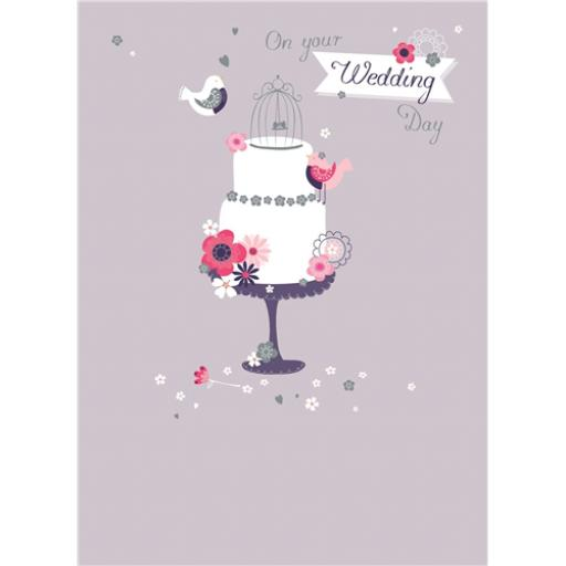 Wedding Card - Two Birds & Cake