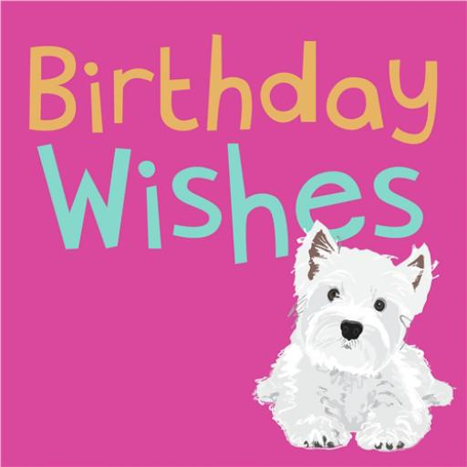 Dogs Trust Waggy Tails Card - Westie On Pink