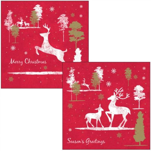 RSPB Luxury Christmas Card Pack - Reindeers Prancing